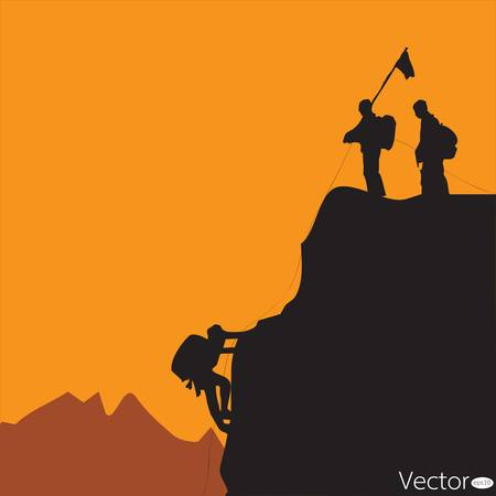 black silhouette of a rock climber Vector