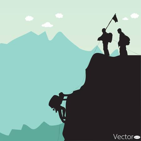 climbing mountain:  black silhouette of a rock climber