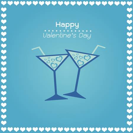 happy valentines day blue color cards with hearts wine glass Vector