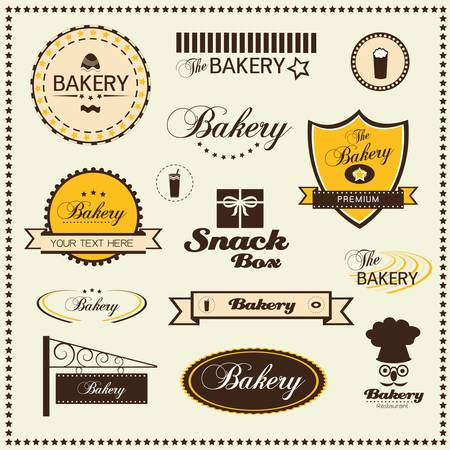 set of bakery badges and labels