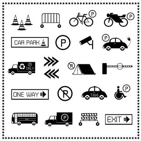 Set of car parking icons, Vector illustration Vector