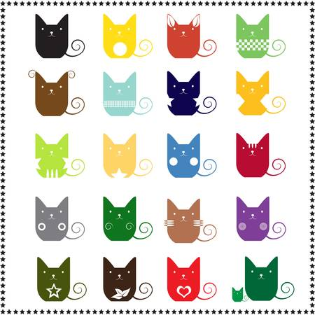 abstract cute cat, Vector illustration Vector