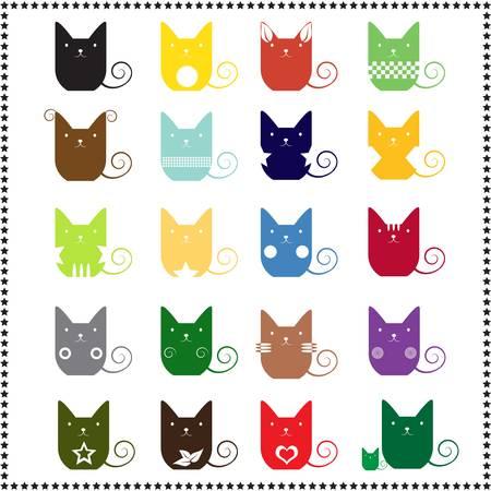 gato caricatura: lindo gato abstracto, ilustraci�n vectorial