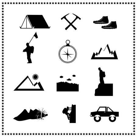 Set of climbing mountain and travel Stock Vector - 18457810