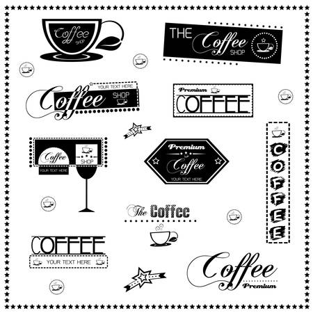 Set of vintage retro coffee labels Stock Vector - 18457845