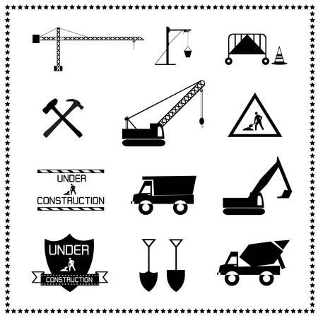 skid steer: set of construction icons, Vector illustration Illustration