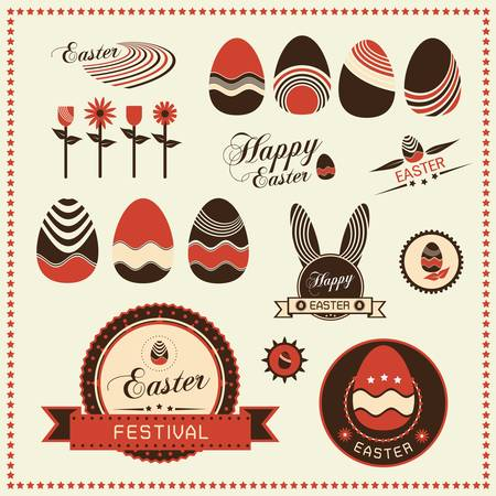 Set of easter ornaments and decorative labels, Vector illustration Vector