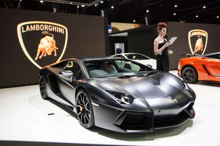 BANGKOK - MARCH 31 : The Lamborghini car on display at The 34th Bangkok International Motor Show 2013 on March 31, 2013 in Bangkok, Thailand.