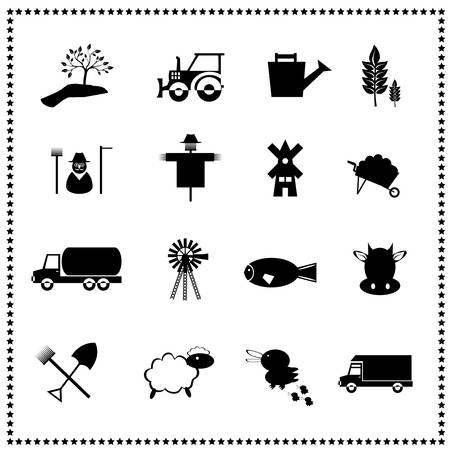 Agriculture and farming icons set, Vector illustration Vector