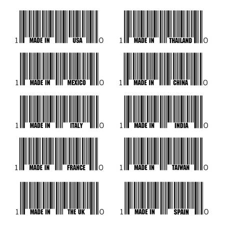 Set of black barcode of Made In symbols, including Italy, France, USA, UK, Spain, Thailand, China, India, Taiwan, Italy Vector