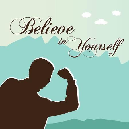 zelf doen: Geloof in jezelf met een man met armen omhoog Stock Illustratie