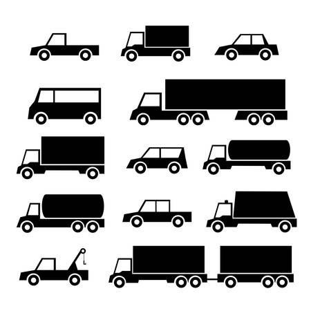 set of car and truck icons
