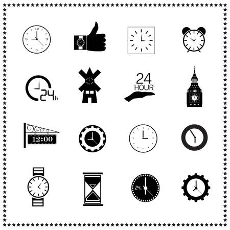 wall clock: set of clock icons Illustration