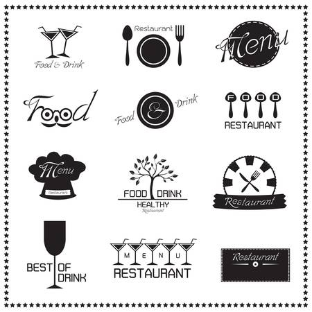 Food and Drink Restaurant icons set  Vector illustration Ilustracja