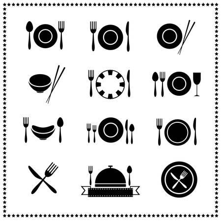 cuchillo y tenedor: Iconos del alimento y Restaurante establecen Vectores