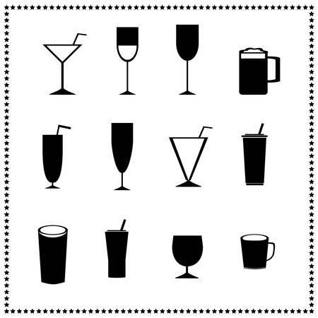 Glass icons, drinks and beverages signs Vector