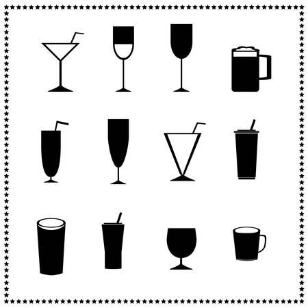 Glass Icons, Getränke und Getränke Zeichen Illustration