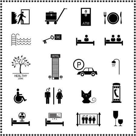 breakfast in bed: set of Hotel icons