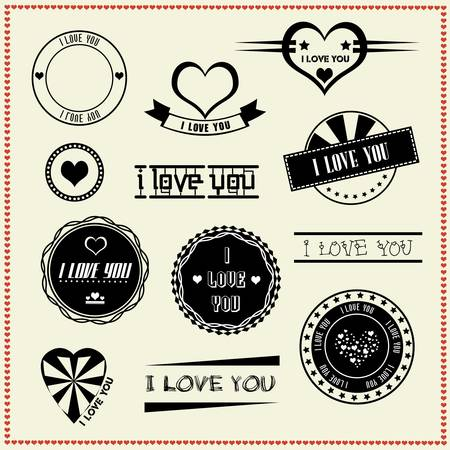 set of I Love You vintage retro style labels Stock Vector - 19256040