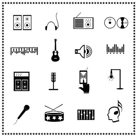 audio mixer: Set of music icons, Vector illustration Illustration