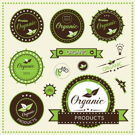 Set of organic labels, Vector illustration Ilustracja