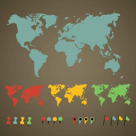 world map with pointers Vector