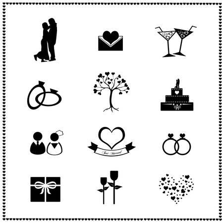 anillo de boda: Conjunto de iconos de bodas, ilustraci�n vectorial