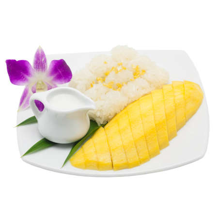 Mango with sticky rice photo