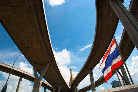 samutprakarn: Bhumibol Bridge, The Industrial Ring Road Bridge in Bangkok, Thailand