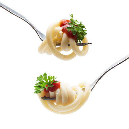 fork with spaghetti sauce and parsley on white background