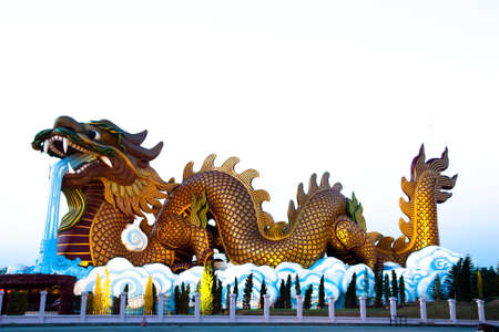descendants: a big dragon statue,chinese temple at Dragon Descendants Museum in Suphanburi Province Thailand