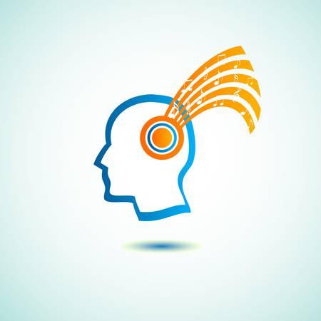 musically: testa con il simbolo di note musicali