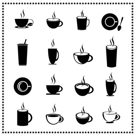 set of coffee cup and tea cup Vector
