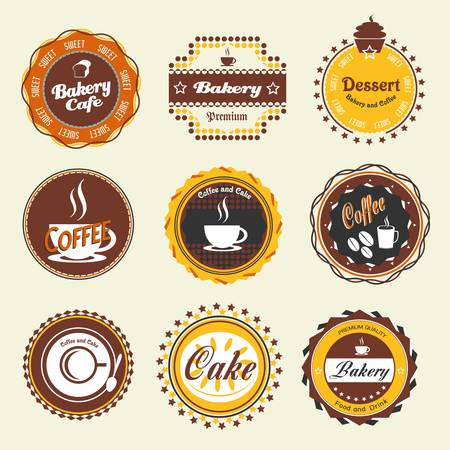 bakery products: Set of vintage coffee and bakery badges and labels