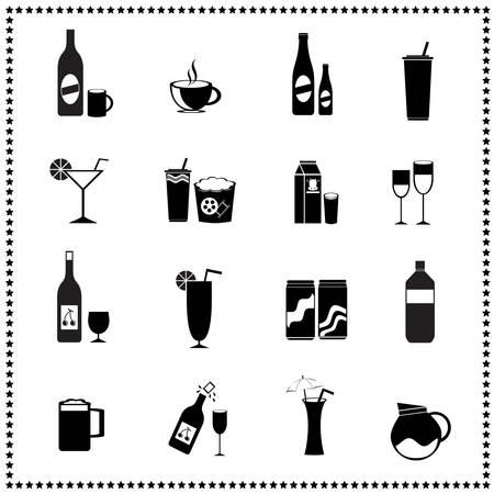 Satz von Getränken und Getränke Symbole