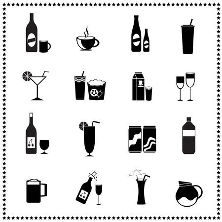 whisky glass: set of drinks and beverages icons Illustration