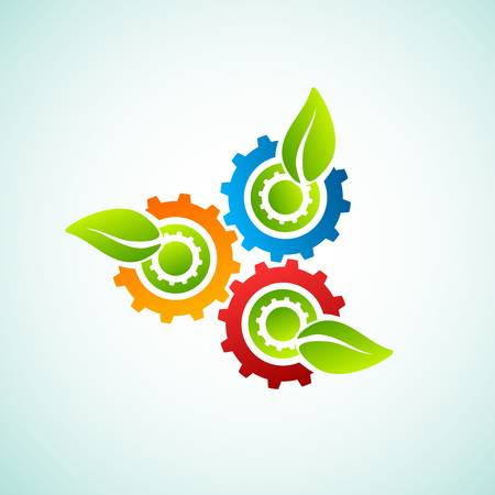 Green leaves with gear Vector