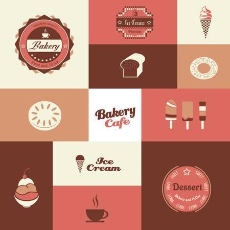 Bäckerei und Eisdiele Retro-Hintergrund Illustration
