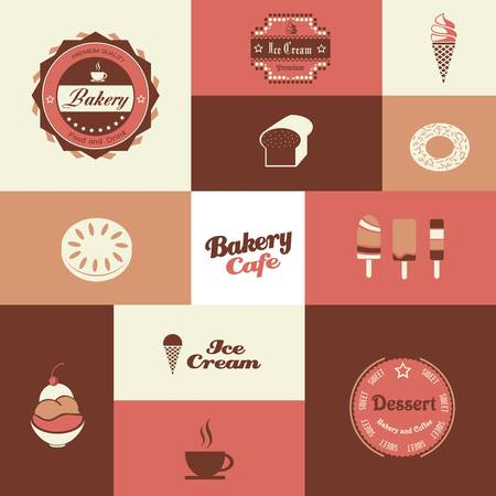 sundae: bakery and ice cream shop retro background