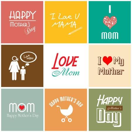 Glückliche Mutter s Tag-Karte mit Schrift, Typografie