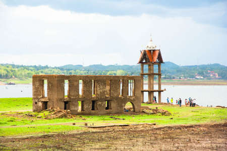 thailand flood: ancient temple expose from river dry, sangkhlaburi, thailand
