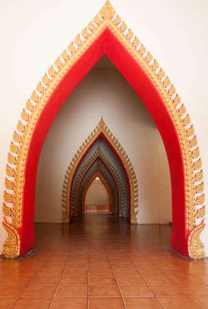 passageway: Passageway in the temple, Kanchanaburi, Thailand Stock Photo