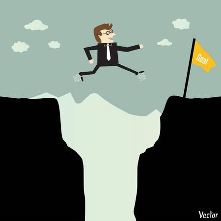 conquistando: Empresario saltar con el resorte de una parte de una monta�a a otra para un objetivo de alta Vectores