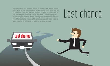 last chance: Businessman running to last chance for competition Illustration