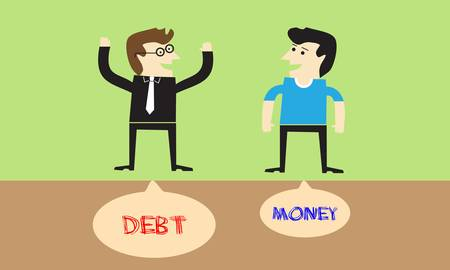 Businessman with debt and businessman with money Vector