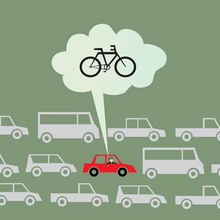 Mit dem Rad zur Arbeit statt mit dem Auto Illustration