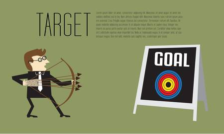 Businessman as an archer is aiming at center of target on goal board Stock Vector - 20664901