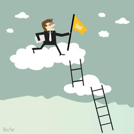 ビジネスマンの成功へのはしごを登る  イラスト・ベクター素材