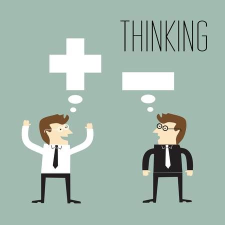 Businessman with positive thinking and Businessman with negative thinking Illustration