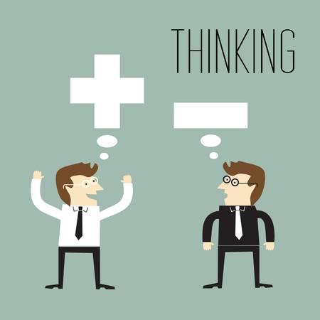 negative thinking: Homme d'affaires avec la pens�e positive et d'affaires avec la pens�e n�gative